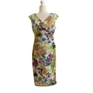 Maggie London Floral Watercolor Garden Party Dress